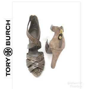 Tory Burch Venice Snakeskin Platform Sandals 8
